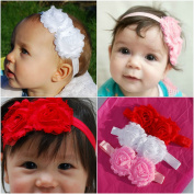 QueenMee Pink Baby Flower Headband Set Baby Flower Headbands Pink Baby Headband Set Pink Flower Headband Baby