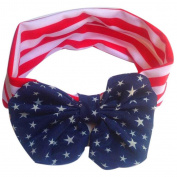 Enjocho Baby American Flag Pattern Bowknot Elastic Cloth Headband Children Hair Band