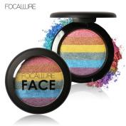 Hometom Focallure Rainbow Highlight Eyeshadow Palette Baked Blush Face Shimmer New