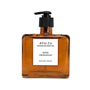 Ayu.Co 250ml Rose Geranium Nourishing Body Oil, Cruelty Free and Made in USA in Small Batches