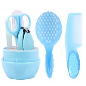 Baby Grooming Kit, Deluxe, Unisex, Including Brush,Comb And Nail Clipper ,Made of Stainless Steel and Plastic, Nursery Essential Set for Baby, Infant and Toddler, Colour Blue