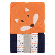 Luvable Friends Hooded Towel and 5 Washcloths, Boy Fox
