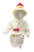 MINERVA Baby & Kids Chicken Bathrobe & Plush Toy Gift Set For 2 ~ 8 Years Old 100% Virgin Cotton