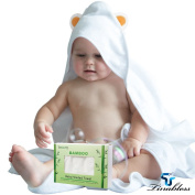 Baby Bamboo Hooded Towel, Tinabless Unisex, Highly Absorbent, Plush, Soft Towel for Kids, Newborns, Infants & Toddler, Baby Bath Towel