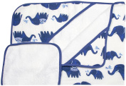 Little Unicorn Cotton Hooded Towel & Wash Cloth - Indie Elephant Set, Navy