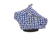Cradle & Kid Black Crosshatch Blue Car Seat Canopy - For Boys Girls - Stretchy Multi Use - Baby Shower Gift … …