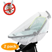 2 Pack Mosquito Net, KOMIWOO Bug Insect Net for Baby Strollers Bassinets Infant Carriers Car Seats Cradles, White