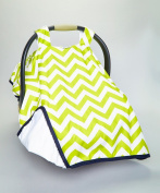 CAR SEAT COVER CANOPY,PREMIUM, BABY NEWBORN,LIME CHEVRON HAPPY BABY HAPPY LIFE(BEST SELLER)PROUDLY MADE IN THE USA BY ROCKINGHAM ROAD