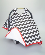 BABY CAR SEAT COVER CANOPY, BLACK & WHITE CHEVRON,(BEST SELLER)UNISEX-PROUDLY MADE IN THE USA BY ROCKINGHAM ROAD