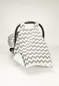 BABY CAR SEAT COVER CANOPY,GREY CHEVRON,GORGEOUS GREY NURSEY (BEST SELLER)BUY THE ORIGINAL BY ROCKINGHAM ROAD,PROUDLY MADE IN THE USA