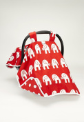 CAR SEAT COVER CANOPY,BABY GENDER NUETRAL RED ELEPHANTS ( BEST SELLER)BUY THE ORIGINAL BY ROCKINGHAM ROAD,PROUDLY MADE IN THE USA