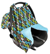 Strawberry Farms Baby Car Seat Cover Canopy and Nursing Cover 2 in 1 Blue and Green Guitars