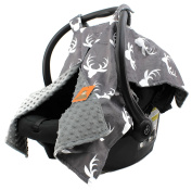 Dear Baby Gear Deluxe Car Seat Canopy, White Antlers, Grey Minky Dot
