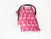 PREMIUM,CAR SEAT COVER CANOPY PINK GIRAFFES BABY GIRL (SUPER CUTE)BUY THE ORIGINAL BY ROCKINGHAM ROAD,PROUDLY MADE IN THE USA