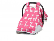 PREMIUM,CAR SEAT COVER CANOPY,BABY, PINK GIRAFFES (SUPER CUTE)BUY THE ORIGINAL BY ROCKINGHAM ROAD,PROUDLY MADE IN THE USA
