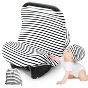 FRiEQ Nursing Breastfeeding Cover Scarf - Stretchy Multi-Use Protection Cover - Convenient, Versatile Design Acts as a Car Seat, Shopping Cart, Highchair and Shade Cover - Baby Hat Included