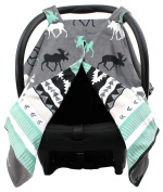 Dear Baby Gear Deluxe Car Seat Canopy, Custom Minky Print Black, Grey, Mint Moose, Aztec Minky
