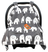 Dear Baby Gear Deluxe Car Seat Canopy, Custom Minky Print White Elephants, Grey and White Polka Dot Minky