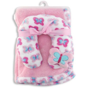 Baby Girl Blanket and Neck Support Pillow Coordinating Set In Pink~Baby Shower Gift~Newborn