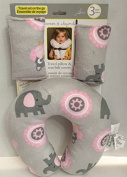 Pink & Grey Elephants & Owls Travel Pillow & Seat Belt Covers Set by Blankets & Beyond