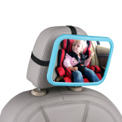 CarBoss Baby Back Seat Mirror for Car - View Rear Facing Infant - Crash Tested Newborn Safety Secure Double-Strap - Clear Wide Convex Shatterproof Glass - Fully Assembled & Adjustable