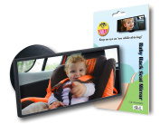MULTI-TASK Baby Backseat Mirror in Car for FRONT FACING Kid! Attached on Front Windshield With Suction, Also Used as Blind-Spot Mirror and Makeup Refresher, Ice-Scraper Bonus!