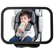 ALPHELIGANCE Baby Car Backseat Mirror for Rear-Facing Infant Car Seats With Secure Headrest Double-Strap,Adjustable 360 Degree View and Wide Convex Shatterproof Glass