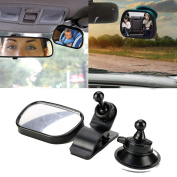 Mini Car Back Seat View Mirror for Baby - Clear Reflection Mirror with Clip and Suction Cup Shatter-proof Safety