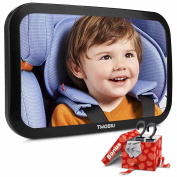 TWOBIU Baby Car Mirror, Rear View Baby Car Seat Mirror Fully Assembled and Adjustable, Crash Tested and Certified for Safety