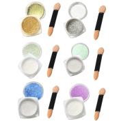 Nail Mirror Powder, Fullfun 6Pcs 1g Nail Glitter Powder Shinning Nail Mirror Powder Makeup Art DIY Chrome Pigment With Sponge Stick