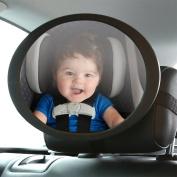 Happy Hours - Adjustable Shatterproof Baby Back Seat Mirror with Swivel and Tilt Function / Universal Super-Sized 19cm Acrylic Safest Rear View for Kids Infant