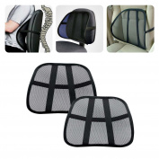 2Pcs Lumbar Support Cool Vent Cushion Mesh Back Lumbar Support New Pillow for Car Office Chair Truck Seat Black
