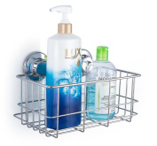SANNO Deep Shower Caddy with Super Strong Suction Cups Bathroom Caddy Wall Shelves Kitchen Storage Basket Holder Rustproof 304 stainless steel