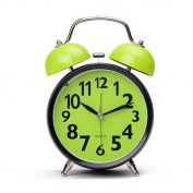 Meliya 7.6cm Classic Retro Silent Non Ticking Quartz Double Twin Bell Alarm Clock with Night Light And Loud Alarm,