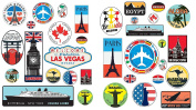 Precut 36 Retro Vintage old fashioned style luggage suitcase travel stickers stick on