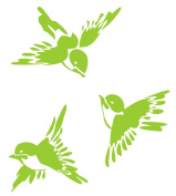 Metal Monkey Stickers SET of 3 Chinese Style Birds Glass Etch or Stained Glass Effect Sticker 10cm Apple Green