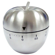 Artistic9(TM) Apple Style Mechanical New Kitchen Timer Alarm Stainless Steel Count Down 60 Minutes