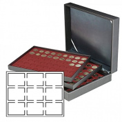 Lindner 2365-2619E Coin case NERA XL with 3 trays and dark red coin inserts for 27 US-coin capsules (Slabs) up to 63x85 mm
