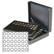 Lindner 2365-2111CE Coin case NERA XL with 3 trays and black coin inserts for 105 coins with Ø 32,5 mm, e.g. for 20 EURO or 10 EURO commemorative coins GERMANY