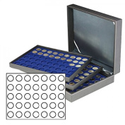 Lindner 2365-2111ME Coin case NERA XL with 3 trays and darkblue coin inserts for 105 coins with Ø 32,5 mm, e.g. for 10 EURO or 20 EURO commemorative coins GERMANY
