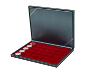 Lindner 2364-2935E Coin case NERA M with dark red insert with 35 ound compartments for coin capsules with external Ø 34 mm, e.g. for 5 EURO coins GERMANY in LINDNER coin capsules