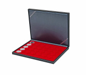 Lindner 2364-2535E Coin case NERA M with light red insert with 35 ound compartments for coin capsules with external Ø 34 mm, e.g. for 5 EURO coins GERMANY in LINDNER coin capsules