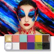 IMAGIC Face Body Paint Halloween Makeup Oil Painting Art Party Fancy Dress Beauty Make Up Devil Fans Body Face Painting 12 Colours