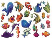 Set of 2 Waterproof Temporary Fake Tattoo Stickers Cute Ocean Fish Dolphin Jellyfish Design Kids Children