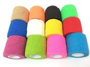 12pcs Disposable Cohesive Tattoo Grip Cover Wrap, Self Grip Roll Elastic Bandage Handle Grip Tub