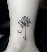 Set of 5 Waterproof Temporary Fake Tattoo Stickers Cool Geometric Lotus Constellation Flowers Unique