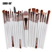 MAANG 20 pcs Makeup Brush Set tools Make-up Toiletry Kit Wool Make Up Brush Set - Coffee -