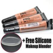 LA Girl Pro Concealer 3 x GC974 Nude HD Liquid Conceal + 1 Free Silicone Makeup Blender
