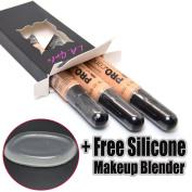 LA Girl Pro Concealer 3 x GC973 Creamy Beige HD Conceal Liquid + 1 Free Silicone Makeup Blender
