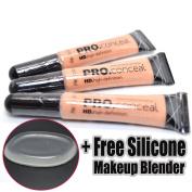 LA Girl Pro Concealer 3 x GC972 Natural HD Conceal Liquid + 1 Free Silicone Makeup Blender